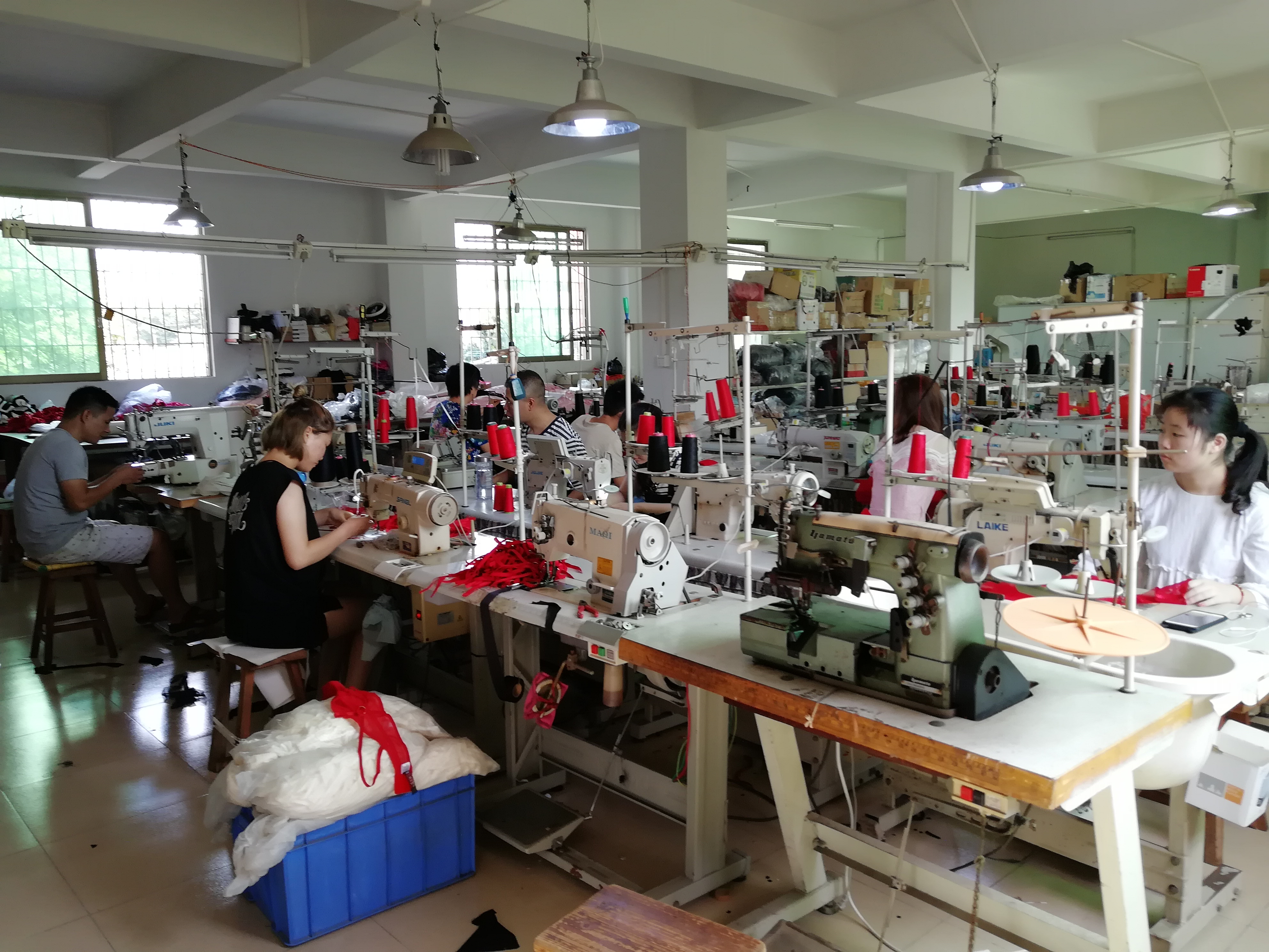 bodysuit factory sewing room